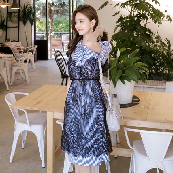 op2924(A) 스트라이프 셔츠원피스와 시스루 레이스 원피스 투피스 세트 dress