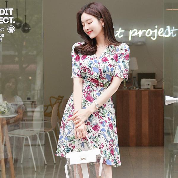 op5217 배색 컬러감의 브이넥 랩 디자인 원피스 dress