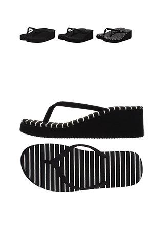 sh1033 무지, 도트, 스트라이프 3가지 타입의 키높이 플립플랍 shoes