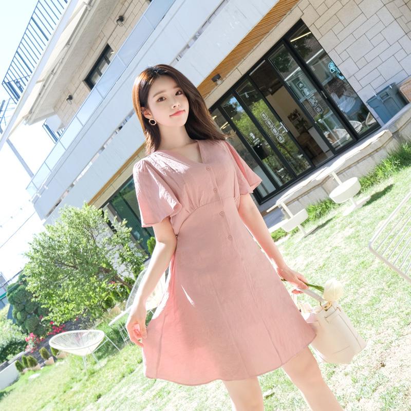 op5481 로맨틱한 셔링 디테일의 윙 소매 버튼 스트랩 원피스 dress