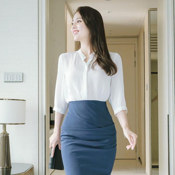 bs3674 모던하고 세련된 차이나넥 디자인의 베이직 7부 블라우스 blouse