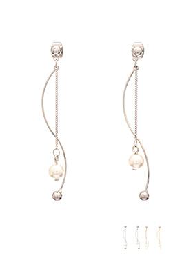 ac3603  웨이브 쉐입의 진주 장식 2줄 드롭 이어링 earring
