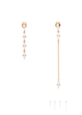 ac3606 마름모 쉐입 큐빅 장식의 체인 언발 드롭 이어링 earring