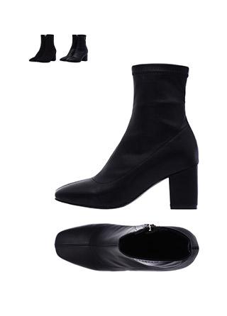sh1112 레더, 스웨이드 두 가지 타입의 스퀘어 미들굽 앵클부츠 shoes