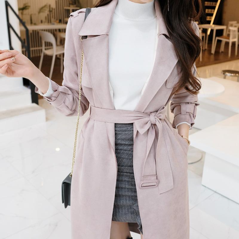 ct901 세련된 감성의 고급스러운 소프트 스웨이드 바바리 트렌치코트 coat