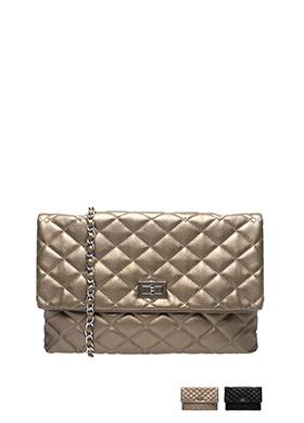 bg602 3WAY로 활용가능한 퀄팅 패턴의 미디엄 사이즈 스퀘어 레더 클러치 백 bag