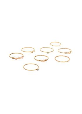 ac3601 비즈와 큐빅 장식의 레이어드 골드링 세트 ring set