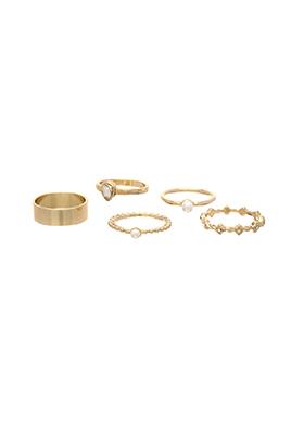 ac3602 진주와 큐빅 장식의 레이어드 반지 세트 ring set