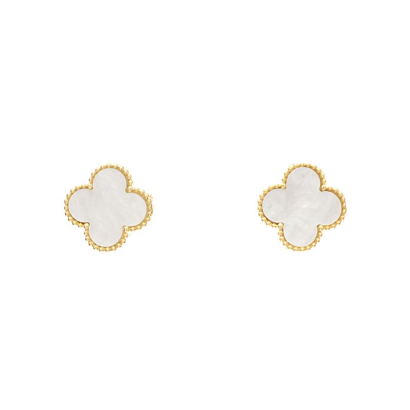 ac3679 고져스한 클로버 쉐입의 페이크 자개 이어링  earring