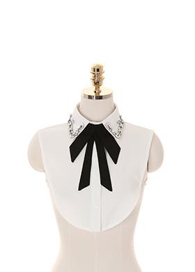 ac3704 탈부착이 가능한 타이구성의 큐빅장식 페이크 넥카라 shirt collar