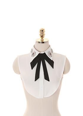 ac3699 샤이닝 포인트를 선사할 보석 장식의 리본탈부착 레이어드 넥카라 shirt collar