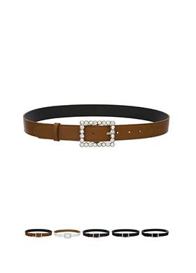 ac3743 레더,벨벳 패브릭으로 제작된 진주 빅 버클 장식 벨트 belt