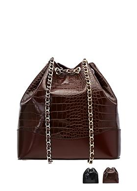 bg638 스타일리쉬한 와니 가죽 패턴의 미니 버킷 백팩 bag