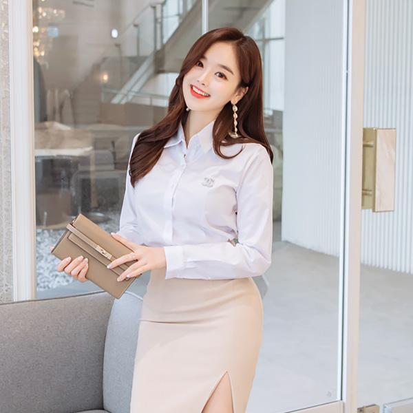bs4045 기본 베이직 디자인의 슬림 사방 스판 블라우스 blouse