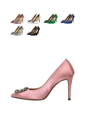sh1225 블링한 스퀘어보석장식 포인트 샤틴패브릭 스틸레토힐 shoes