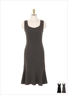 op6391 머메이드 실루엣의 스퀘어넥 뷔스티에 서스팬더 원피스 dress