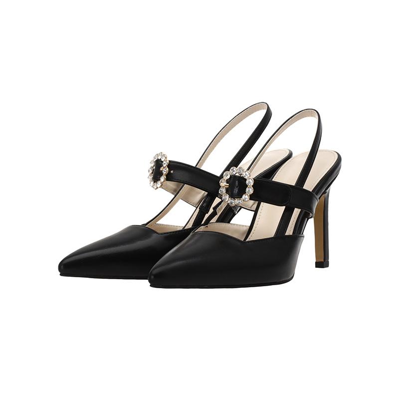 sh1255 라운드 큐빅장식 포인트의 스퀘어라인 스트랩 하이힐 shoes