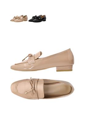 sh1256 귀여운 리본장식의 고급진 에나멜소재 데일리 로퍼 shoes