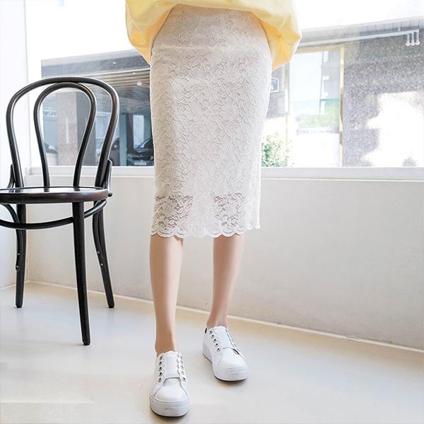 sk3293 쫀득한 신축성의 플라워 레이스 밴딩 미디 스커트 skirt