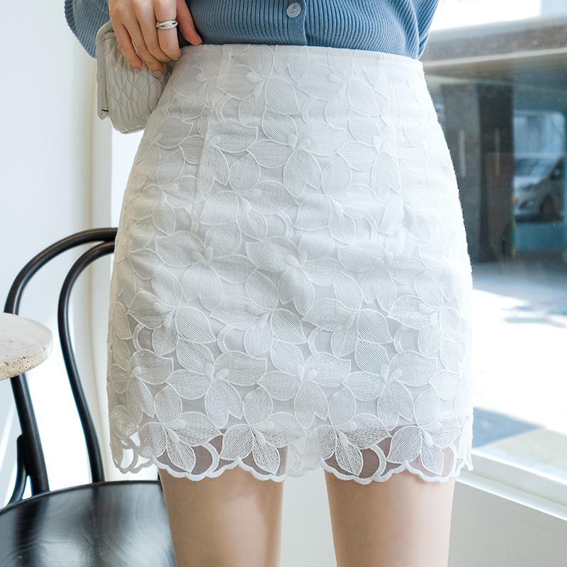 sk3294 퓨어한 릴리 플라워 패턴의 하이웨이스트 슬림 H라인 미니스커트 skirt