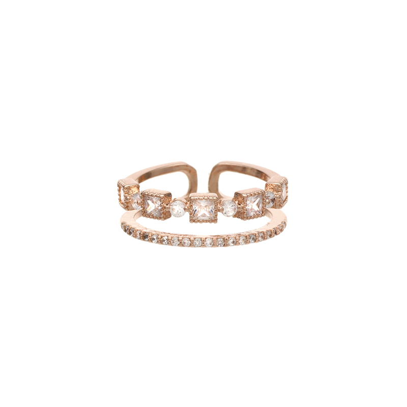 ac3802 스퀘어 쉐입 큐빅 장식의 두줄 레이어드 링 ring