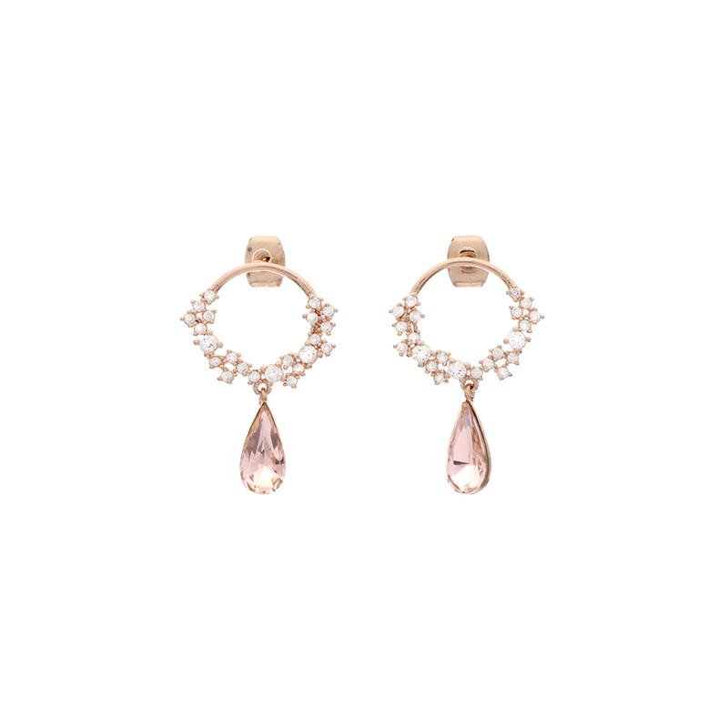 ac3805 여리한 물방울 쉐입의 컬러 큐빅이 드롭된 라운드 백 침 이어링 earring