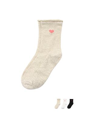 un173 사랑스러움 가득한 레드하트패턴 포인트 골지 발목 돌돌이양말 socks