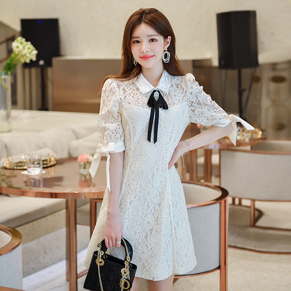 op6557 레이스 패브릭의 큐빅 리본 브로치 세트 퍼프 반팔 원피스 dress