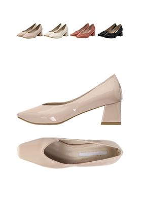 sh1281 발등 V쉐입으로 한층 슬림하게 완성된 페미닌 에나멜 미들힐 슈즈 shoes