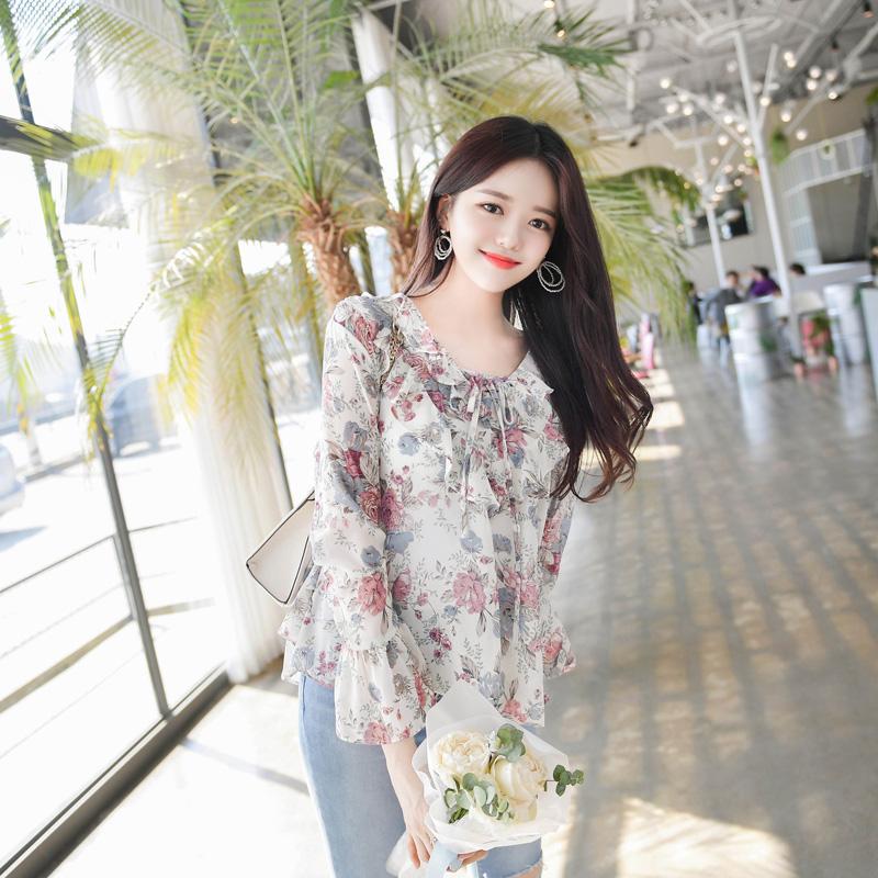 bs4191 여리여리 화사함가득한 플라워패턴의 아일렛 리본장식 쉬폰 블라우스 blouse