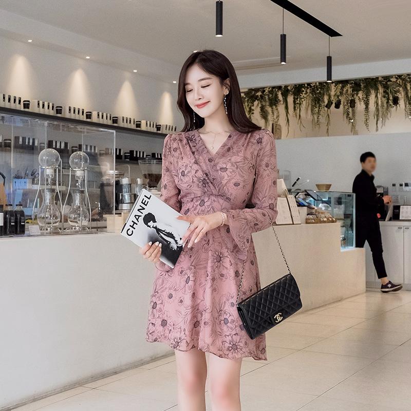 op6688 여리한 실루엣의 쉬폰 플라워 톤 다운 핑크 원피스 dress