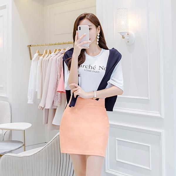 sk3379 쫀득한 텐션감으로 한층 편안한 깔끔 베이직 코튼 스판 A라인 미니 스커트 skirt