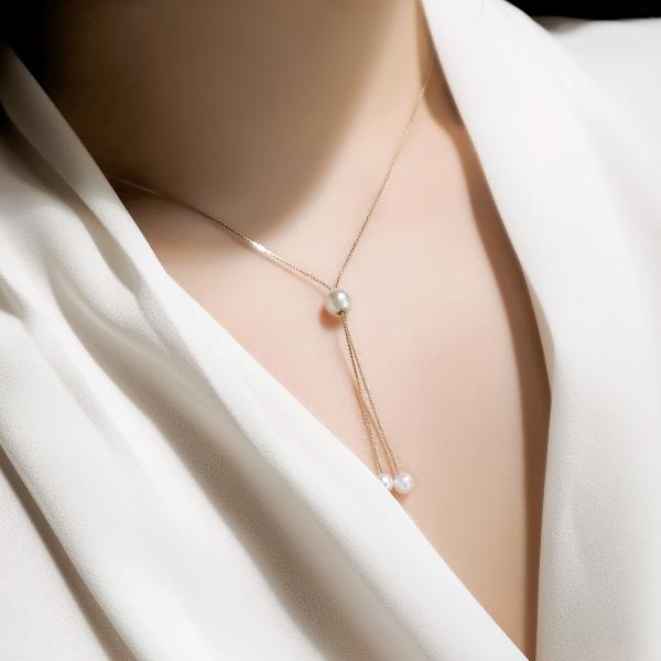 ac3844 사이즈 조절이 가능한 여리한 드롭 진주 네크리스 necklace