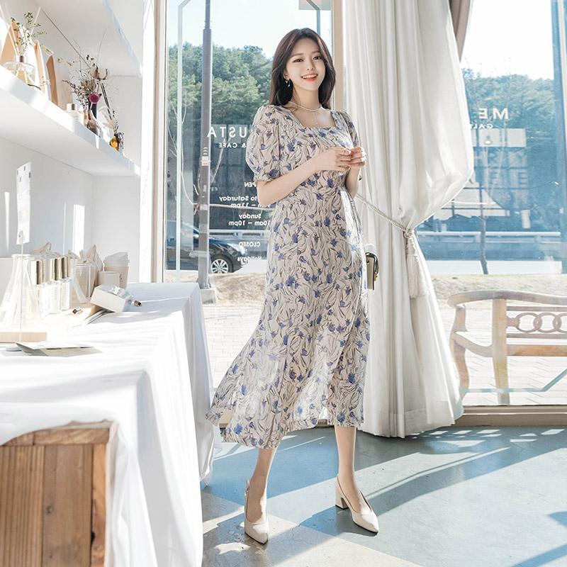 op6734 로맨틱한 스퀘어넥 디자인의 플라워패턴 퍼프소매 롱원피스 dress
