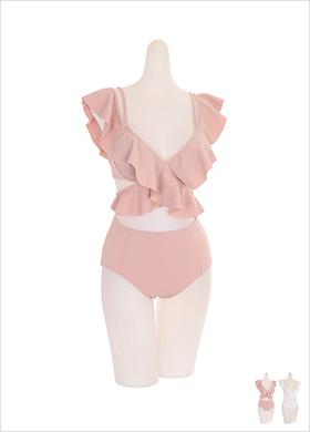 bk049 엑스 러플 스트랩 장식의 비키니 투피스 세트 bikini