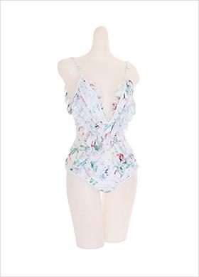 bk043 프릴 장식의 짐머만 플라워 모노키니 bikini