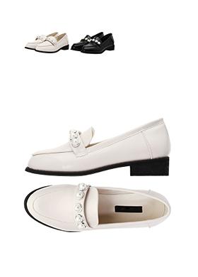 sh1313 발등 진주 스트랩 포인트의 로맨틱 클래식 매끈 로퍼 슈즈 shoes