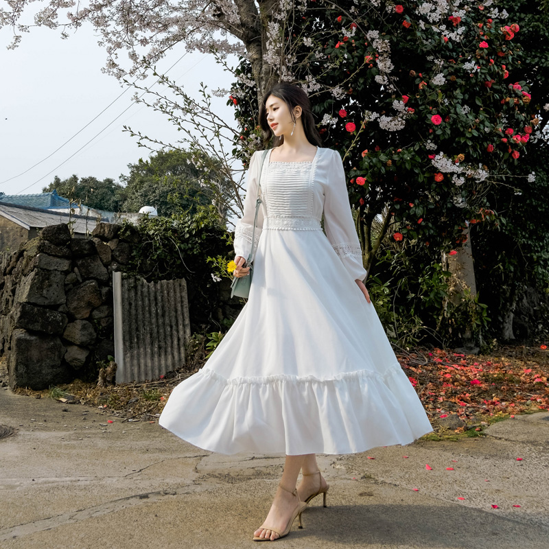 op6759 안아주고 싶은 화사한 컬러감의 레이스핀턱장식 롱드레스 dress