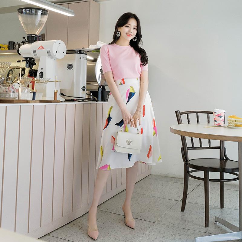 sk3405 감각적인 컬러 패턴이 사랑스러운 백밴딩 플레어 롱스커트 skirt