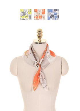 ac3880 감각적인 스퀘어 컬러배색의 일러스트 프린팅 스카프 scarf