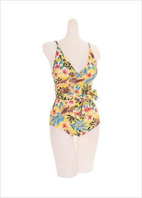 bk050 화사한 플라워 패턴의 랩 모노키니 bikini