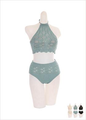 bk053 홀터넥 디자인의 니트 비키니 투피스 bikini