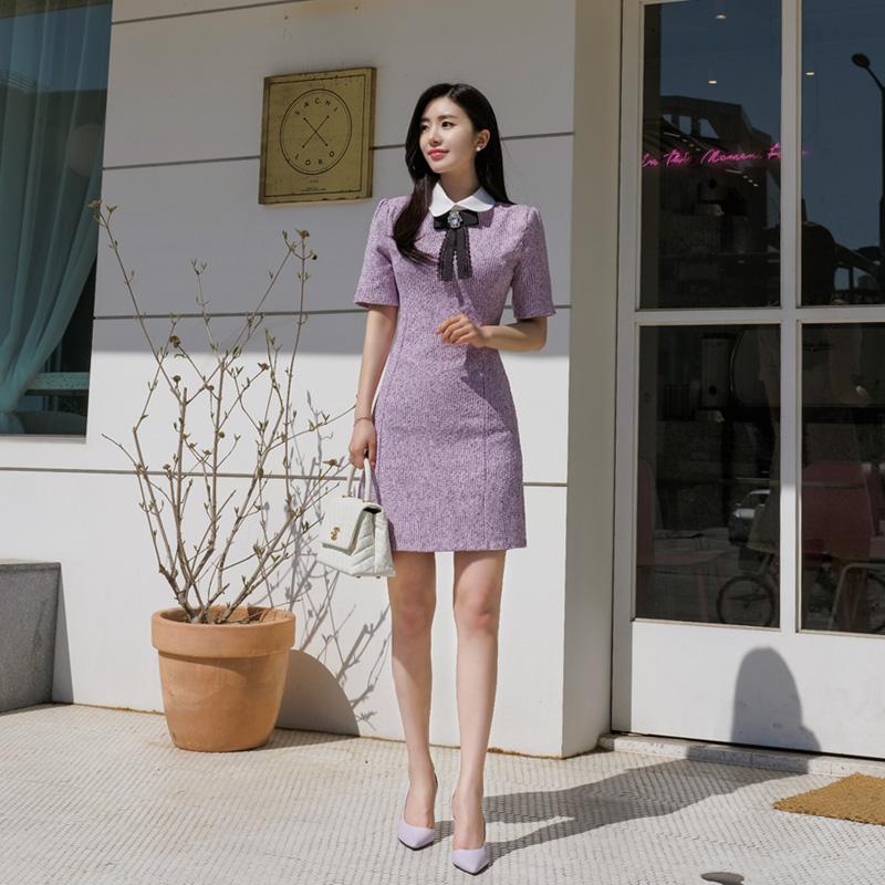 op6802 브랜드감성의 보석브로치세트 로맨틱 슬림핏 트위드원피스 dress