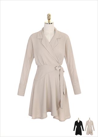 op6789 언발 랩 디자인의 테일러드 카라 원피스 dress