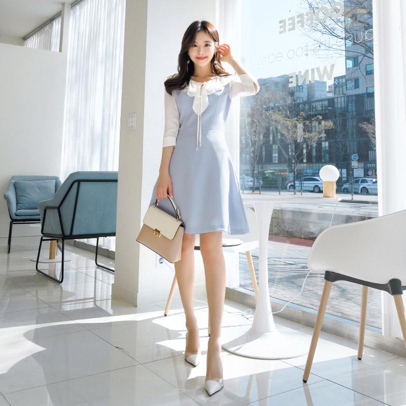 [SALE] op6803 로맨틱한 리본 프릴 장식 포인트의 7부 플레어 원피스 dress