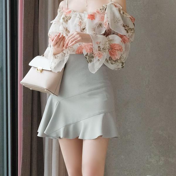 sk3423 산뜻한 컬러감의 로맨틱데일리 언발 프릴장식 미니스커트 skirt