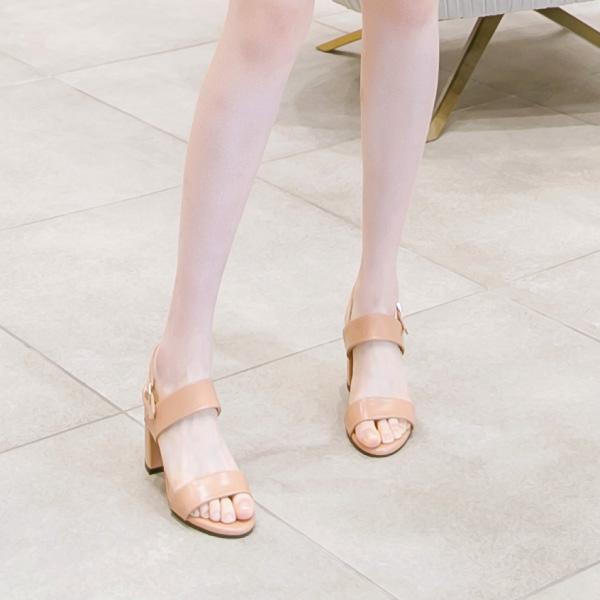 sh1373 클래식한 감성의 더블 스트랩 오픈토 미들힐 슈즈 shoes