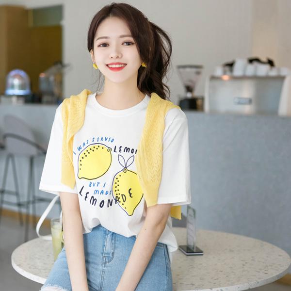 ts1501 상큼터지는 레몬 일러스트 포인트의 러블리 반팔 티셔츠 tee