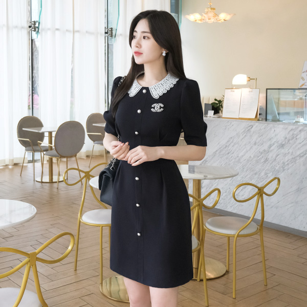 op6846 배색 레이스 카라와 진주 단추 장식의 핀턱 반팔 원피스 dress