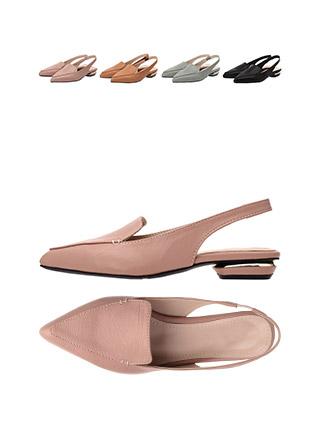 sh1362 골드 장식과 뾰족코 쉐입의 밴딩 슬링백 플랫슈즈 shoes